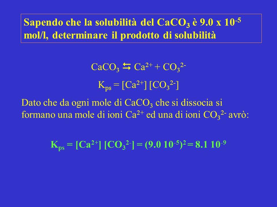 Kps = [Ca2+] [CO32-] = (9.0 10-5)2 = 8.1 10-9